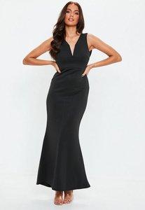 Read more about Petite black v plunge scuba maxi dress black