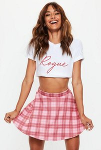 Read more about Petite pink check scuba skater skirt multi