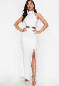Read more about Petite white racer back maxi dress white