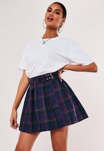 Read more about Petite blue check print pleated mini skirt blue