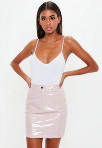 Read more about Petite pink vinyl mini skirt pink