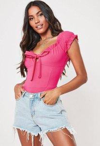 Read more about Petite pink bardot milkmaid bodysuit pink