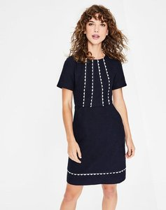 Read more about Scallop jane textured dress navy women boden navy