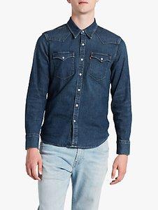 Levi's denim shirt barstow slim fit western redcast stone