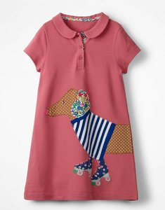 Read more about Big appliqu polo dress pink girls boden pink