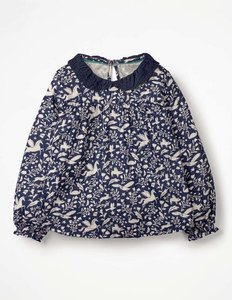 Read more about Broderie collar blouse navy girls boden navy
