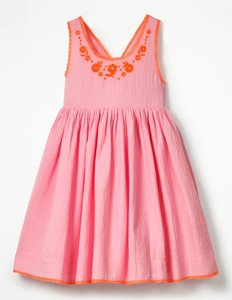 Read more about Pretty embroidered bow dress pink girls boden pink