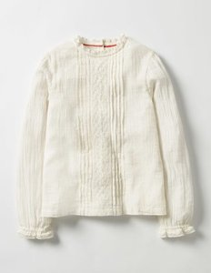 Read more about Pretty lace woven top ivory girls boden ivory