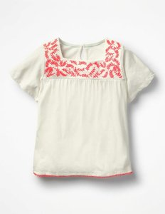 Read more about Embroidered smock top ivory girls boden ivory