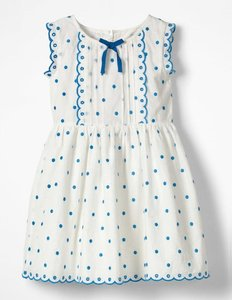 Read more about Embroidered spotty bow dress ivory girls boden ivory