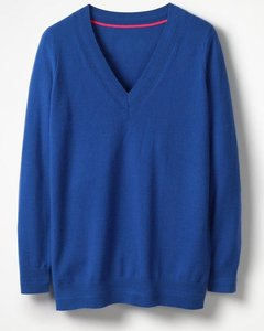 Read more about Cashmere relaxed v-neck jumper blue women boden blue