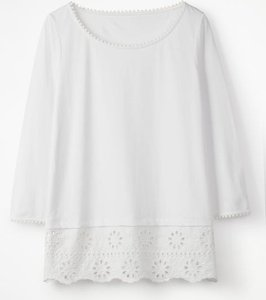 Read more about Jersey broderie overlay top white women boden white