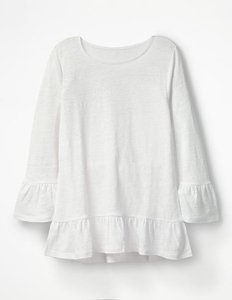 Read more about Linen flare jersey top white women boden white