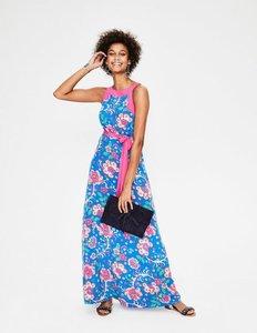 Textured Silk Dress Blue Sketched Floral Women Boden Blue Sketched
