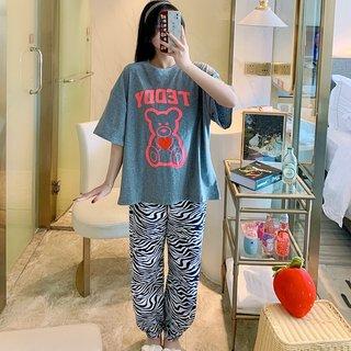 Zebra Bear Loose Pajamas Womens Summer