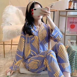 Womens Long-Sleeved Pajamas Spring and