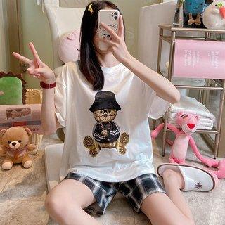 Teddy Bear Pajamas Womens Summer Loose