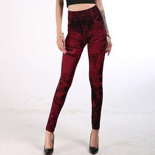 Women Fake Jeans Leggings Sexy Push Up