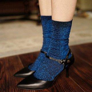 Womens Shiny Solid Color Socks Fashion