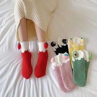 Velvet Socks Women Cute Harajuku Fruit