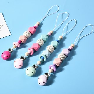 Wooden Silicone Beads Pacifier Chains