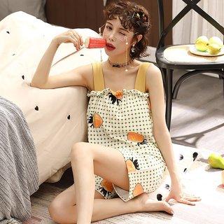 Womens Sling Pajamas Summer Check Thin