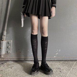 Womens Socks Calf Socks Black Rose
