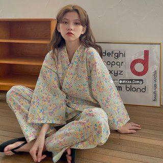 Womens Floral Pajamas Spring and Autumn