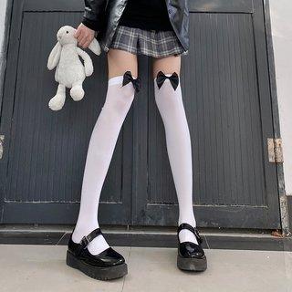 White Silk Bow Knee Socks Velvet Thin