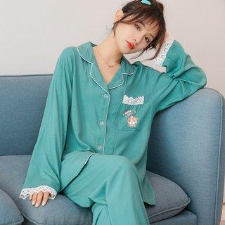 Solid Color Cardigan Poplin Pajamas