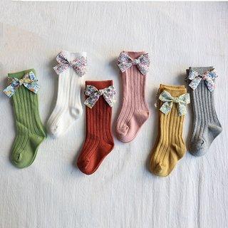 Toddlers Girls Socks Floral Bows Knee