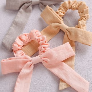 Solid Color Bow Linen Girls Elastic