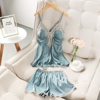 Womens Pajamas Summer Ice Thin Silk