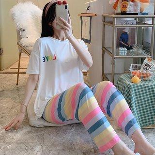 Summer Pajamas Womens Rainbow Letters