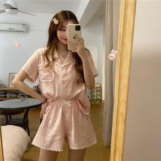 Summer Korean Chic Polka Dot Suit