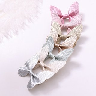 Solid Color PU Bows Hairpin Girls Hair
