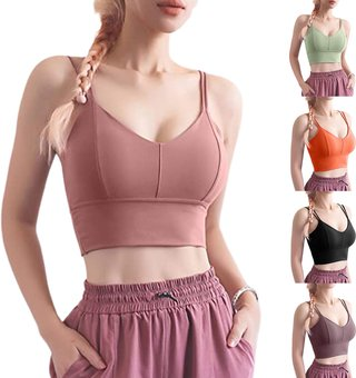 Women Sports Bra with Double Shoulder