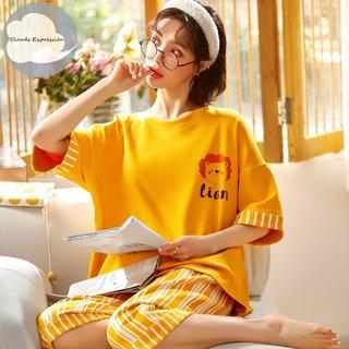Summer Cotton Yellow Cartoon Pajamas
