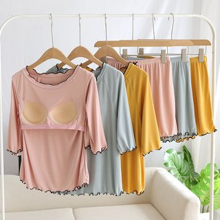 Womens Mid-Sleeve Shorts Pajamas with