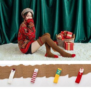 Velvet Long Socks Women Christmas