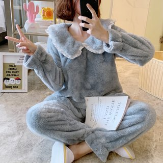Womens Pajamas Autumn and Winter Coral