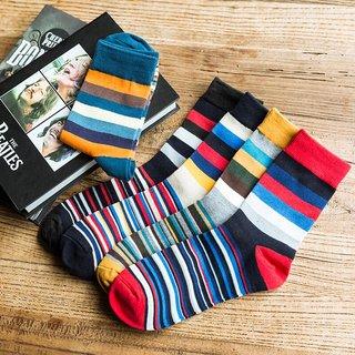 Winter Mens Warm Color Striped Fashion