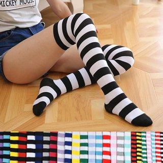 Women Girls Over Knee Long Stripe