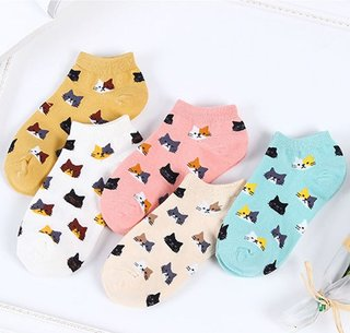 5Pairs Women Cotton Ankle Socks Cute
