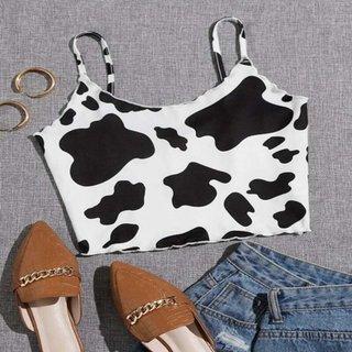 Summer Cow Print Womens Crop Top Sexy