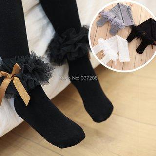 girls lovely bow pantyhose big lace