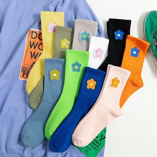 Streetwear Flower Embroider Cute Socks