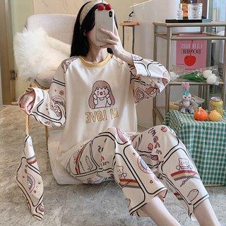 Womens Cotton Long-Sleeved Pajamas