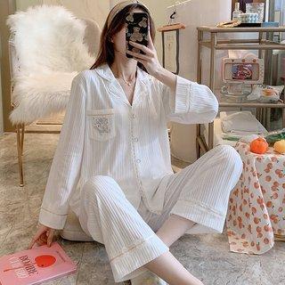 White English Pajamas Womens Spring