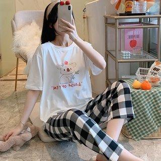 Kaola Plaid Pants Pajamas Womens Summer